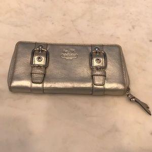 Coach silver metallic wallet